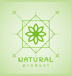 natural product logo design template branch with vector image