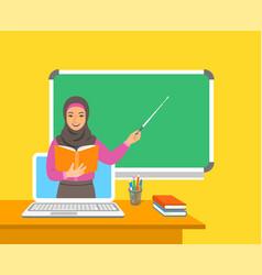 Online distance education computer flat concept vector