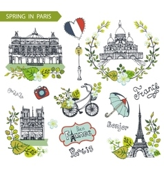 Paris springFamous landmarksfloral decor set vector image