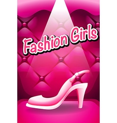Pink high heel in spotlight vector