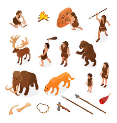Primitive people caveman set vector