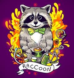 Raccoon drinks tea vector