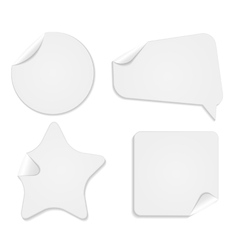 Realistic White Paper Stickers Isolated on White vector image