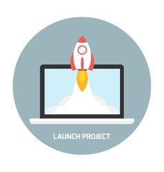 Rocket launch from laptop vector