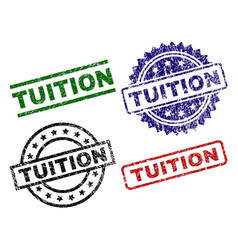 Scratched textured tuition seal stamps vector