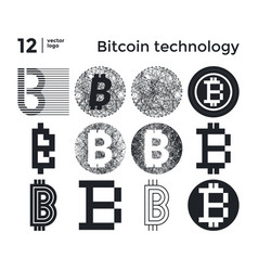 set abstract bitcoin technology vector image