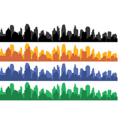 set of different color horizontal cityscapes vector image