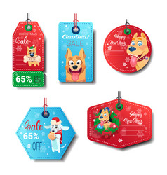 set of new year sale tags decorated with dogs vector image