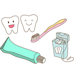 Set of teeth care vector