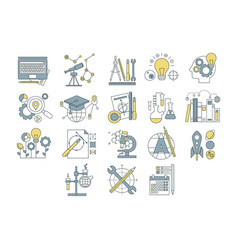 set simple linear icons with colorful vector image