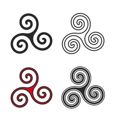 Set triskelion symbol flat and line style vector