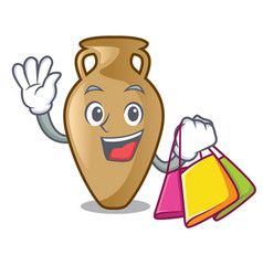 shopping amphora character cartoon style vector image