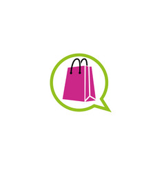 Shopping bag inside a chat icon logo vector