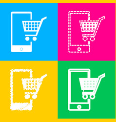 Shopping on smart phone sign four styles of icon vector