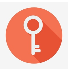 Single flat key icon with long shadow for web vector
