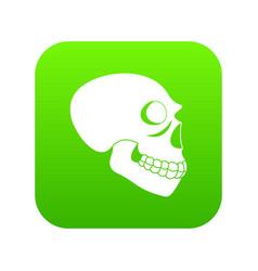 Skull icon green vector