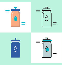 sport water bottle icon set in flat and line vector image