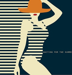 stylized woman in swimsuit waiting for the summer vector image