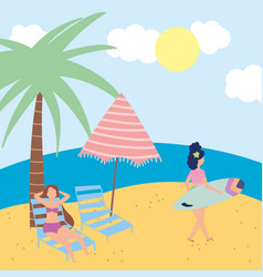 summer people activities woman with surfboard and vector image