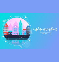 travel banner with an urban landscape vector image