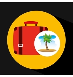 Tropical vacation beach suitcase luggage vector