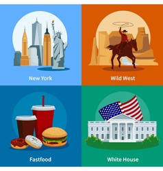 USA Flat 2x2 Icons Set vector
