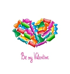 Valentine greeting card with candy vector