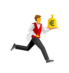 Waiter runs with money bag on a tray vector