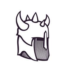 warrior helmet with horns vector image