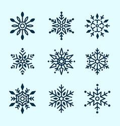 winter set white snowflakes isolated vector image