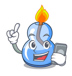 with phone alcohol burner character cartoon vector image