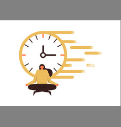 Woman doing yoga for concentration fast time speed vector