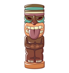 Wooden idol icon cartoon style vector