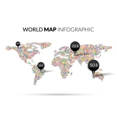 World Map colorful Dot infographics vector