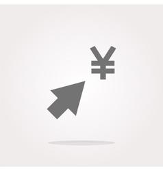 Yen currency symbol and arrow web button icon vector image