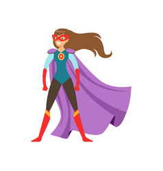 Young woman character dressed as a super hero vector