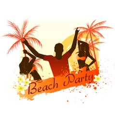 beach party background with people vector image vector image