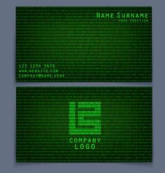 Business card binary code vector