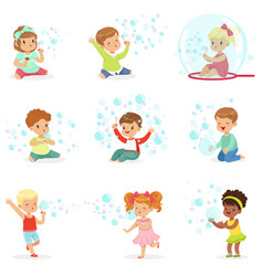 Children playing with colorful soap bubbles vector