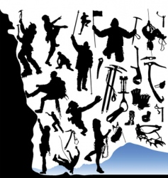 climber and equipments set vector image vector image