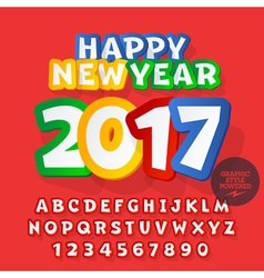 Funny sticker Happy New Year 2017 greeting card vector image