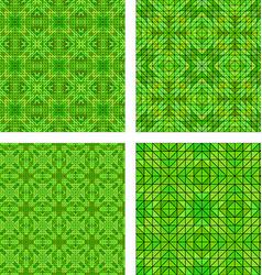 Green seamless mosaic pattern background set vector
