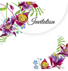 invitation with watercolor flowers vector image
