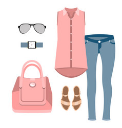 lady fashion set vector image vector image