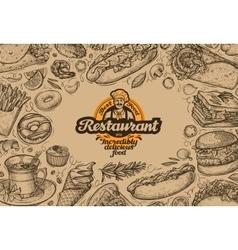 template design menu restaurant or diner hand vector image