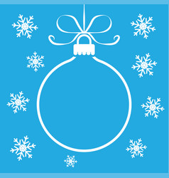 christmas ball toy outline on blue background vector image vector image