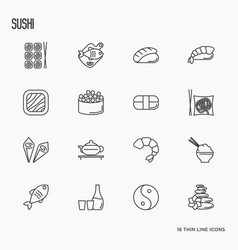 japanese food thin line icons set sushi noodle vector image