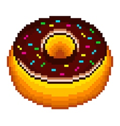 Pixel donut isolated vector image vector image