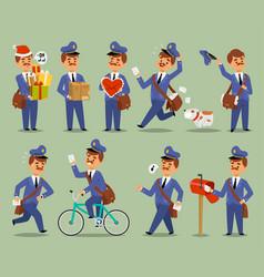 postman cartoon man character courier vector image