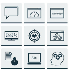 set of 9 advertising icons includes intellectual vector image vector image